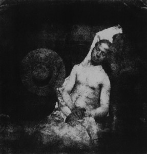 HIPPOLYTE BAYARD. Self Portrait as a Drowned Man, 1840.