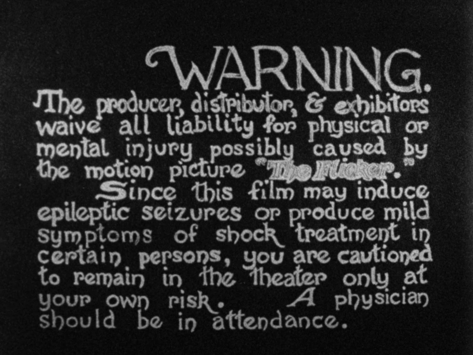 advertencia inicial en The Flicker (Tony Conrad, 1966)
