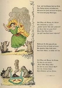 """Ilustración de La espantosa historia de Pauline y las cerillas (Heinrich Hoffman, 1858); """"cautionary tale"""" sobre jugar con fuego"""