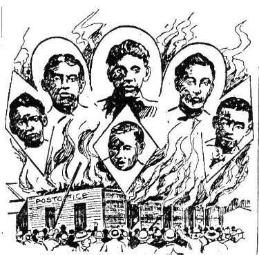 Black postmaster lynched and his wife and three daughters shot and maimed for life in Lake City, S.C.