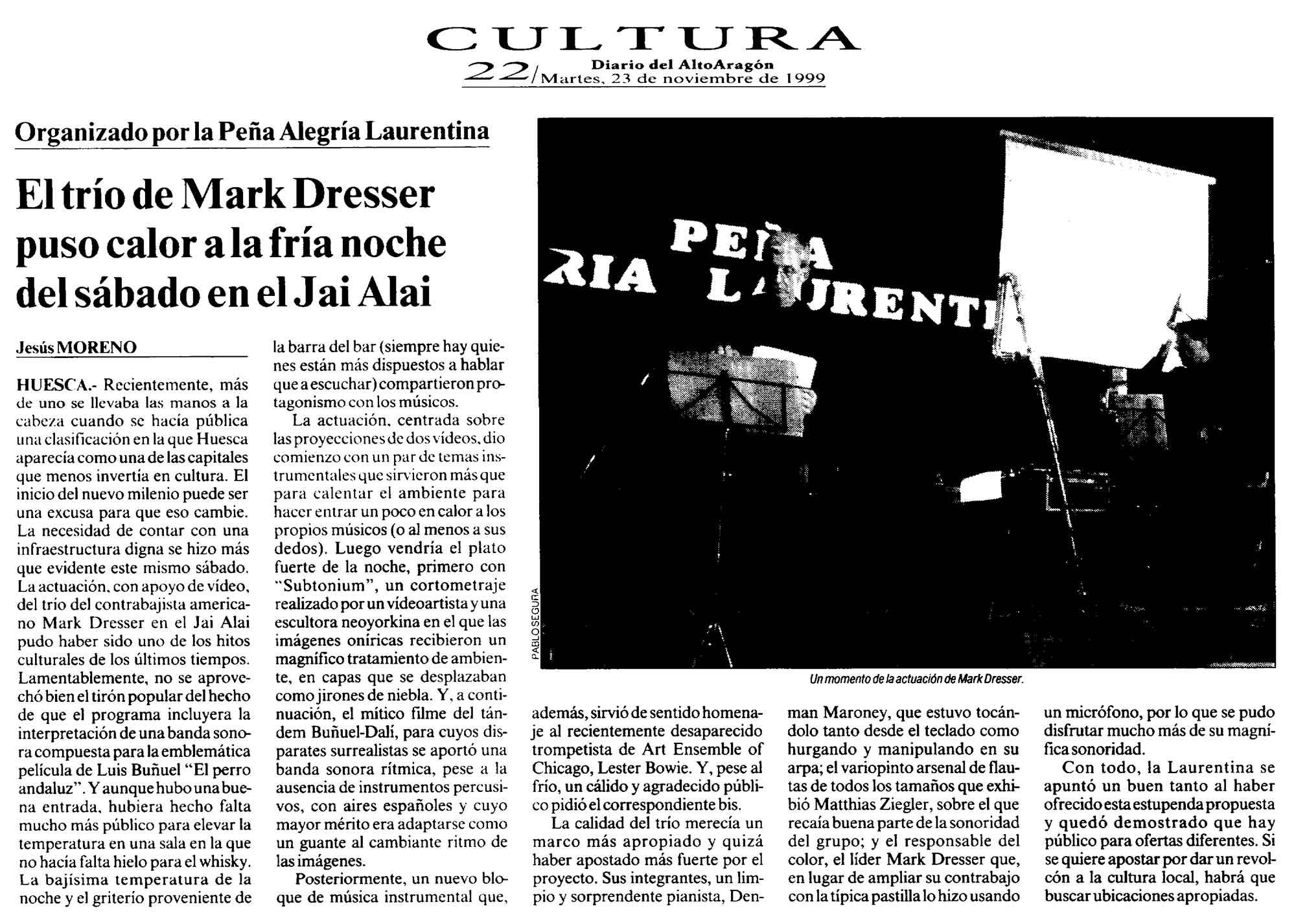 Crónica del concierto de Mark Dresser en el Jai-Alai.