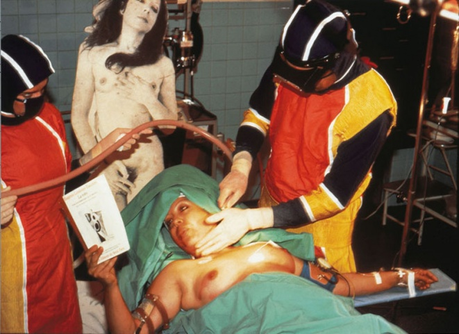 ORLAN Reading La Robe by Eugénie Lemoine-Luccioni, 1st Surgery-Performance, juillet 1990, Paris. Cibrachrome diasec mount, 165 m x 110 cm
