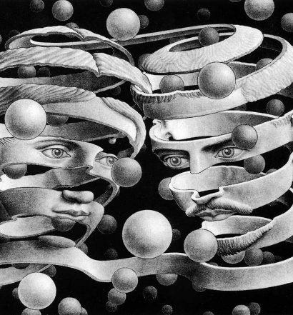 """""""Bond of Union"""" M.C. Escher (1956). FUENTE DE LA IMAGEN: Count Orlok's Blog"""